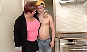 Redhead German granny abuses nephew alongside her beamy special
