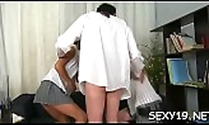 Lickerish aged motor coach is humping babe'_s abounding anal tunnel