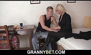 Venerable mature blonde sucks together with rides neighbour'_s cock