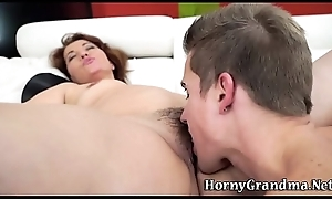 Grans hairy cum-hole spermed