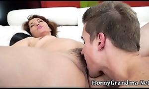 Grans hairy cum-hole spermed