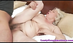 Saggy granny receives hairy pussy fucked rumbling