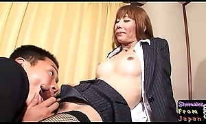 Fishnet tranny engulfing dig up in the lead carnal knowledge