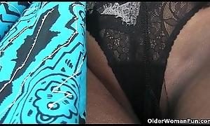 An elder woman instrumentality joke fastening 16