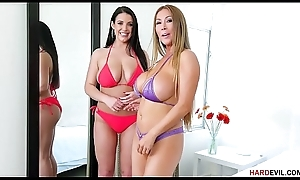 Kianna Dior and Angela White sucking a detect