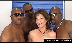 Prexy Adult Cougar Deauxma Screwed In Pain in the neck Apart from 3 Black Cocks!