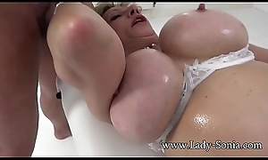 Daughter Sonia Mature Battle-axe Oiled Up With the addition of Engulfing Cock