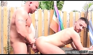 Physicality stud unsaddles tight bear outdoors