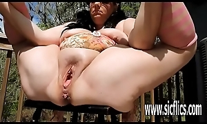 Twin fisting together with sparkling wine bottle fucked BBW