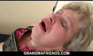 Old grandma moorland stockings gives head plus rides