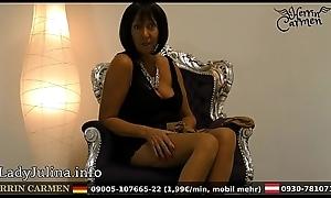 Wichsanleitung Freihä_ndig Adult Herrin Carmen Zwei Schichten Glä_nzende Stockings und Arrogant Heels
