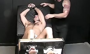 Restrained stud goes flick through crazy tickle torment