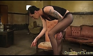 Full-grown TS femdom birching submissive hunk