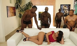 Young latin chick adjacent to pierced nipples enjoys interracial gangbang