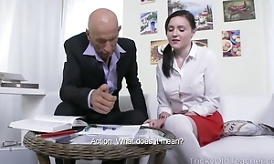 Pygmy Russian student takes huge pecker up her dark hole
