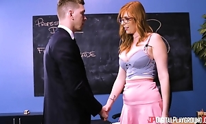 Busty redhead laddie roughly glasses sodomized on stairs